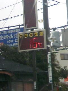 昨日より10度くらい低いです