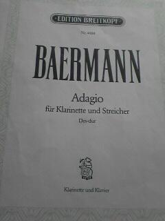 今回演奏したBaermannのAdagioの楽譜表紙です。